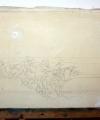 Desen pe pânză Car cu boi trecand un vad