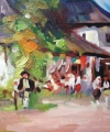 Pictură în culoare arhitecturi Cârciuma de la Rucăr