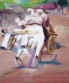 Pictură în pastă boi Cârciuma de la Rucăr