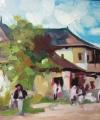 Pictură în pastă vegetație Cârciuma de la Rucăr