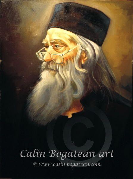 Părintele Iustin Pârvu portret pictură în ulei pe pânză