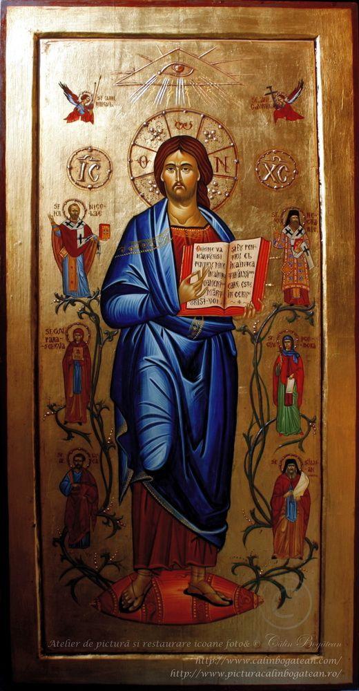 Iisus înconjurat de sfinți icoană pe lemn