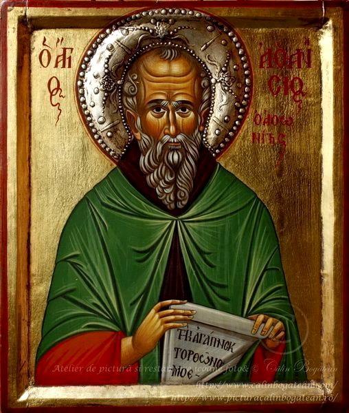 Sfântul Atanasie Atonitul icoană bizantină pictură pe lemn