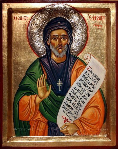 Sfântul Efrem Sirul icoană pe lemn