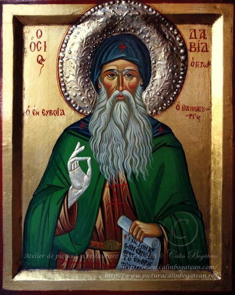 Sfântul David din Evia icoană bizantină pictură pe lemn