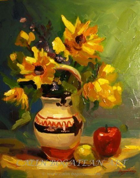 Ulcică cu flori galbene și măr