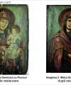 Restaurare  icoană Maica Domnului cu Pruncul pe fundal verde