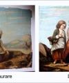 Restaurare tablou fetițe cu coș de nuiele