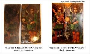 Restaurare icoană sf Mihail şi Gavril