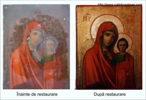 Restaurare icoana ferecată Maica Domnului cu pruncul
