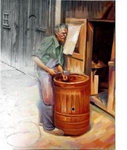 Dulgherul tablou realizat în ulei pe pânză după o poză veche