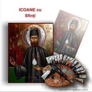 Icoane cu sfinți pictură bizantină pe lemn