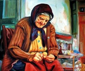Portret bust cu mâini pictură pe pânză