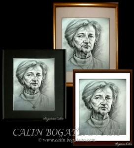 Ramă pentru portret desen grafică în creion cărbune