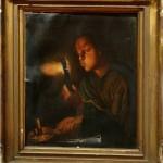 Restaurare tablou Fetita cu Jar în mână și lumanare imagine originală înainte de restaurare