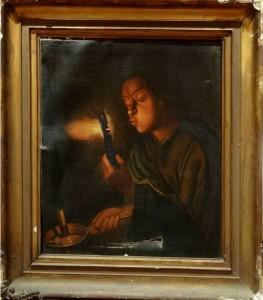 restaurare tablou Fetita cu Jar în mână și lumanare imsgine originală înainte de restaurare