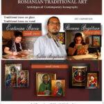 Expoziție icoane Bristol Anglia Călin Bogătean, Baciu Ecaterina, Roxana Bogătean expoziție de icoane pe lemn icoane pe sticlă Afiș engleză