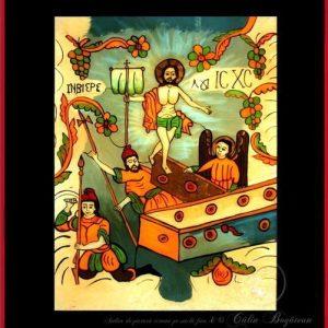 Învierea Domnului icoană tradițională pictată pe sticlă, pictură naivă, artă țărănească românească, icoană pe sticlă, pictură în ulei, de vânzare, la comandă, iconar Roxana Bogătean