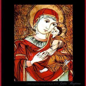 Maica Domnului de la Nicula Ilișua icoană tradițională țărănească Icoană pictată pe sticlă, Roxana Bogătean, pictură naivă, artă românească, icoană pe sticlă, pictură în ulei, de vânzare, la comandă