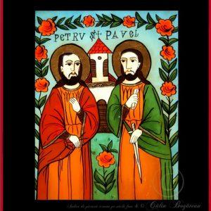 Sfintii Petru si Pavel icoană tradițională țărănească Icoană pictată pe sticlă, Roxana Bogătean, pictură naivă, artă românească, icoană pe sticlă, pictură în ulei, de vânzare, la comandă