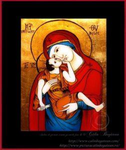 Maica Domnului dulce iubitoare icoană tradițională țărănească Icoană pictată pe sticlă, Roxana Bogătean, pictură naivă, artă românească, icoană pe sticlă, pictură în ulei, de vânzare, la comandă