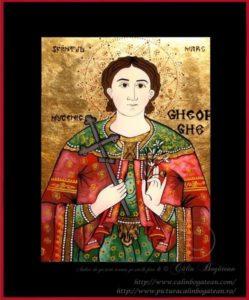 Sfântul Mare mucenic Gheorghe icoană tradițională țărănească Icoană pictată pe sticlă, Roxana Bogătean, pictură naivă, artă românească, icoană pe sticlă, pictură în ulei, de vânzare, la comandă