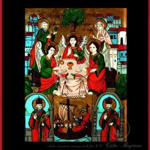 Sfânta Treime Sfânta Troiţă, Filoxenia, Cina de la Mamvri icoană tradițională pictată pe sticlă, pictură naivă, artă țărănească românească, icoană pe sticlă, pictură în ulei, de vânzare, la comandă, iconar Roxana Bogătean