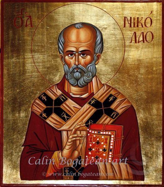 Sfântul Ierarh Nicolaie icoană pictură pe lemn