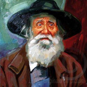 Portret de bătrân cu pălărie verde pictură pe pânză