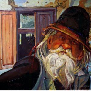 Portret de bărbat cu barbă și plete pictură pe pânză
