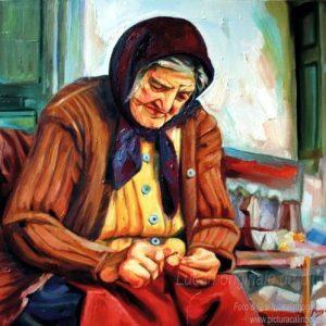 Bătrână pe prispă portret de femeie pictură în ulei pe pânză