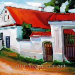 Casă și poartă peisaj rural pictură pe pânză