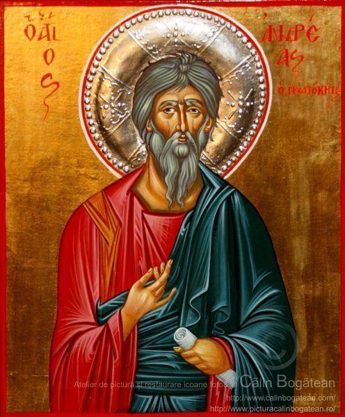 Sfântul apostol Andrei, Sfântul apostol Andrei apostolul românilor,Sfântul Andrei, Sfântul Andrei icoană, Icoană-bizantină, pictură, icoană, tehnica, tempera pe lemn, lucrare de artă ortodoxă, pictură pe lemn, la comandă,de vânzare, Icoană pictată
