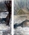 Restaurare pictură în ulei pe carton pictură românească tablou iarna