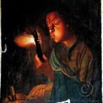 Restaurare fetita cu jar chituire lacune restaurare tabblou pictură în uelie pe pânză