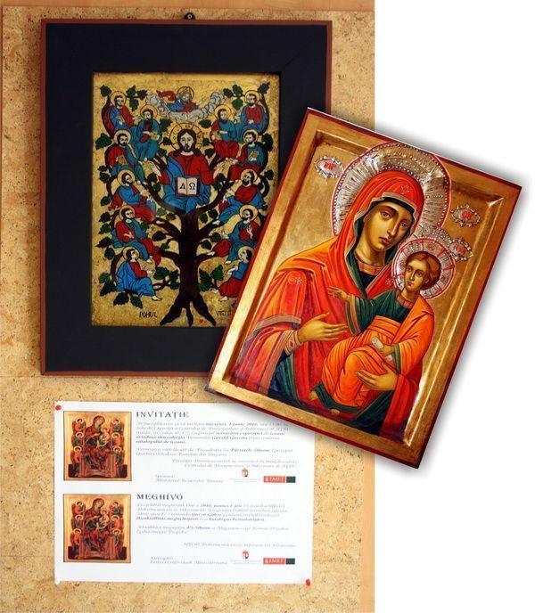 Expozitie de icoane Gyula Ungaria 2016 picturi pe lemn și pe sticlă de Călin Raluca și Roxana Bogatean