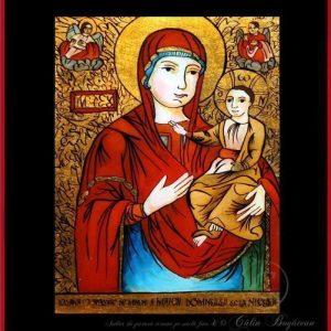 Maica Domnului de la Nicula icoană tradițională țărănească Icoană pictată pe sticlă, Roxana Bogătean, pictură naivă, artă românească, icoană pe sticlă, pictură în ulei, de vânzare, la comandă