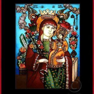 Maica Domnului floarea nevestejită, floarea nepieritoare, coană tradițională țărănească Icoană pictată pe sticlă, Roxana Bogătean, pictură naivă, artă românească, icoană pe sticlă, pictură în ulei, de vânzare, la comandă