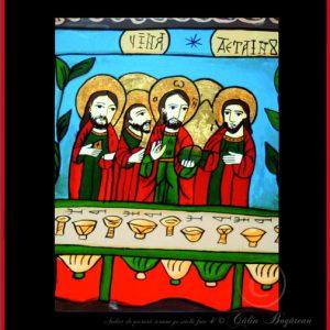 Cina de taină icoană tradițională, Icoană pictată pe sticlă, Roxana Bogătean, pictură naivă, artă românească, icoană pe sticlă, pictură în ulei, de vânzare, la comandă, Cina de taină