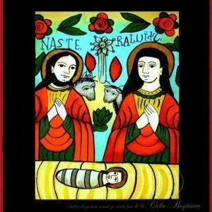 Nașterea Dmnului Iisus Hristos icoană tradițională, Icoană pictată pe sticlă, Roxana Bogătean, pictură naivă, artă românească, icoană pe sticlă, pictură în ulei, de vânzare, la comandă, Nașterea Dmnului Nașterea Dmnului