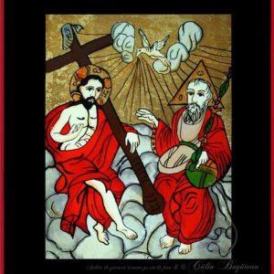 Sfânta Treime icoană tradițională, Icoană pictată pe sticlă, Roxana Bogătean, pictură naivă, artă românească, icoană pe sticlă, pictură în ulei, de vânzare, la comandă, Sfânta Treime
