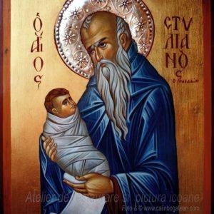 Sfântul Stelian icoană pictură bizantină pe lemn