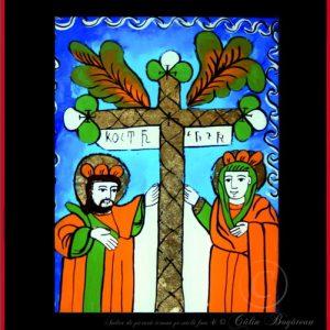 Sfinții Împărați Constantin și Elena icoană tradițională, Icoană pictată pe sticlă, Roxana Bogătean, pictură naivă, artă românească, icoană pe sticlă, pictură în ulei, de vânzare, la comandă, Sfinții Împărați Constantin și Elena rugăciune
