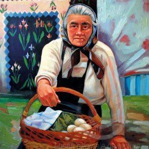 Femeia cu coş cu ouă portret de femeie pictură în ulei