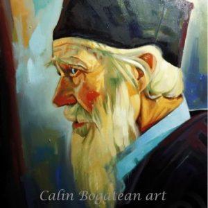 Portret de călugăr pictură în ulei pe pânză