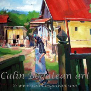 Bătrână în ogradă peisaj rural pictură pe pânză de vânzare