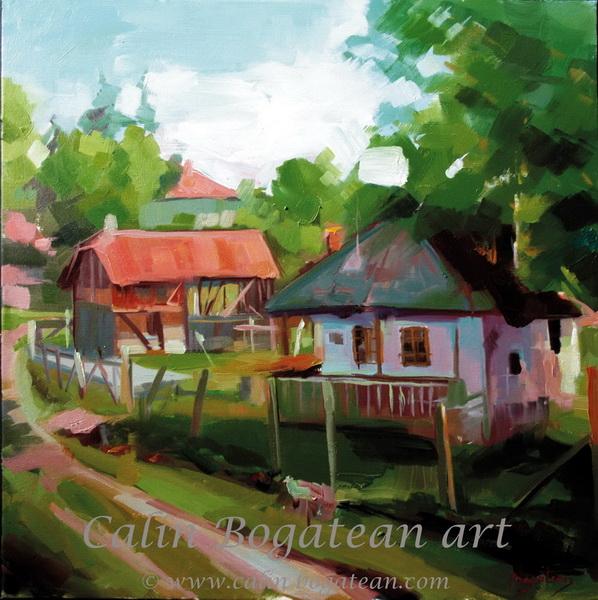 Case din Berghia pictură pe pânză