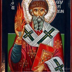Sfântul Ierarh Spiridon, Sfântul Spiridon icoană, Sfântul Spiridon, icoană pe lemn, Sfântul Spiridon pictură pe lemn, icoană bizantină, Sfântul Spiridon pictură, sfântul Spiridon, lucrare, pictură tradițională, artă religioasă, icoană, pictură pe lemn, icoană în tempera, emulsie de ou, Corfu, Icoană pictată, icoană de vânzare, pictură naivă, icoană pictată, Spiridon rugăciune