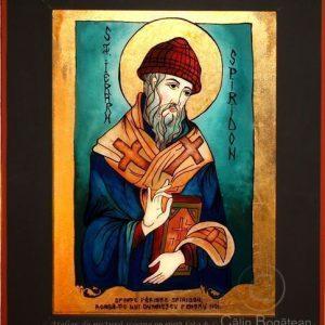 Sfântul Ierarh Spiridon, Sfântu Spiridon, Sfântul Ierarh Spiridon Corfu, icoană tradițională, Icoană pictată pe sticlă, Roxana Bogătean, pictură naivă, artă românească, icoană pe sticlă, pictură în tempera, de vânzare, la comandă, Spiridonrugăciune
